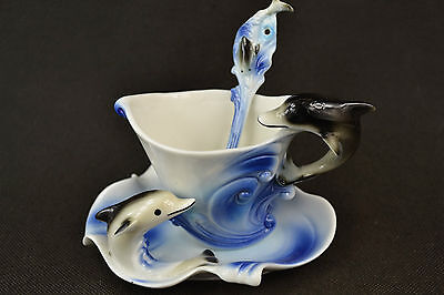 Rare Old Porcelain Carving Dolphins Shape Usable Plate & Spoon & Plate