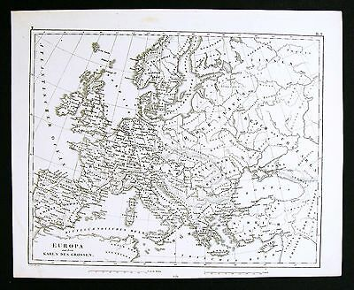 1849 Bilder Atlas Map  Europe Charlemagne Carolingian Renaissance France Germany