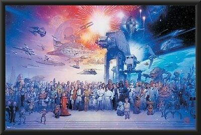Star Wars Galaxy Poster Dry Mounted in Black Wood Frame 24x36 all characters