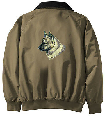 Norwegian Elkhound Embroidered Jacket - Jacket Back - Sizes XS thru XL