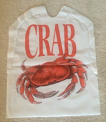 SET of 12 Disposable Plastic CRAB Bibs FREE SHIPPING Seafood Lobster Feast bake