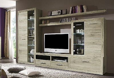 wohnwand anbauwand san remo eiche hell wohnzimmer schrank vitrine led neu 161300 eur 399 99. Black Bedroom Furniture Sets. Home Design Ideas