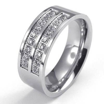8mm Polished Stainless Steel CZ Engagement Wedding Band Men's Ring , Silver