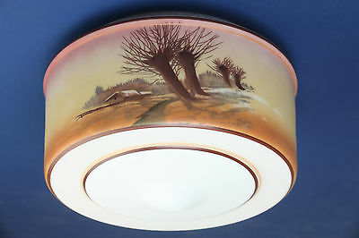 Antique Vintage Art Deco Hand Painted Scenic Glass Light Shade Ceiling Kitchen