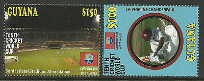 GUYANA 2011 ICC 10th CRICKET WORLD CUP Shivnarine Chanderpaul Set 2v MNH