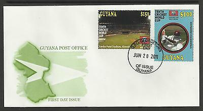 GUYANA 2011 ICC CRICKET WORLD CUP Shivnarine Chanderpaul Set 2v FIRST DAY COVER
