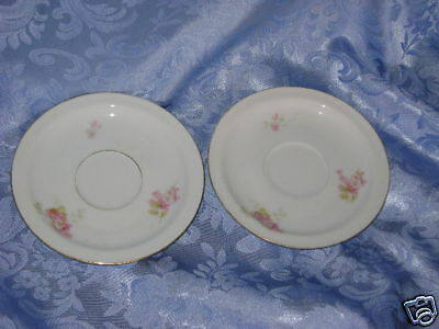 LOT of 2 VINTAGE ROYAL BAYREUTH BAVARIA SAUCERS PINK FLOWERS no cups REPLACEMENT