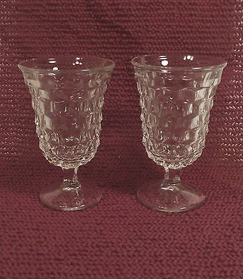 Two Fostoria American Cube Cubist Clear Glass Pedestal Water Beverage  Goblets