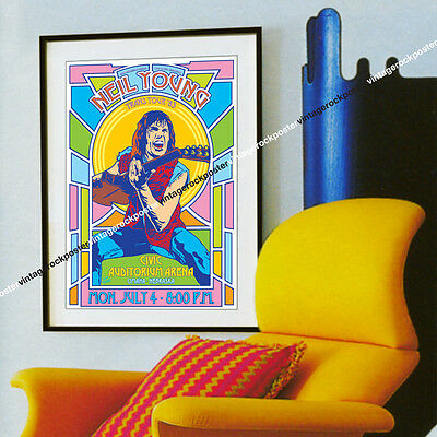 NEIL YOUNG - Omaha,us  - 4 july 1983 - concert  poster - c123
