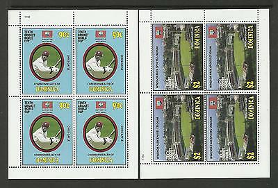 DOMINICA 2011 ICC 10th CRICKET WORLD CUP Chris Gayle 2v COMPLETE SHEETS of 4 MNH