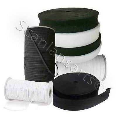"White or Black Woven Loom Elastic Tape Wide & Narrow 3"" 2"" 1"" 1½"" 1¼""  1""  ¾"" ¼"""