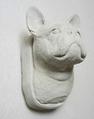 CONCRETE FRENCH BULLDOG STATUE WALL HANGER