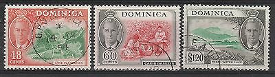 Dominica 1951 Kgvi Pictorial 48C 60C And $1.20