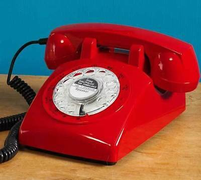 Red Retro Rotary Dial Corded Telephone 1970s Style Desk Phone Batphone Bat NEW