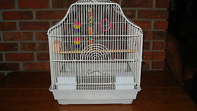 """WHITE BIRD CAGE 16"""" WIDE BY 18"""" TALL SWINGS, MIRROR  AND TOY GREAT CONDITION"""
