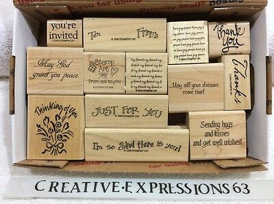 Stampin' Up Lot Of 13 Rubber Stamps Verses ExCondition