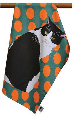 Leslie Gerry Black & White Cat Design Tea Towel  100% Cotton
