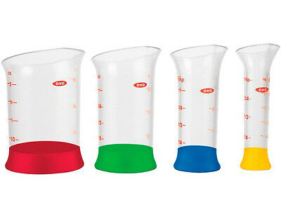 Oxo Good Grips Mini Measuring Nesting Beakers Set of 4 Easy Fill and Pour New