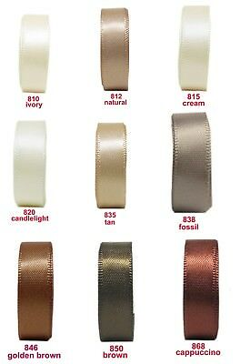 "25y-200y Reel 3mm 1/8"" Ivory Cream Brown Double Faced Satin Ribbon Premium Eco"