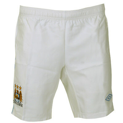 Mens Manchester City White/Blue FC Home Football Soccer Shorts Size