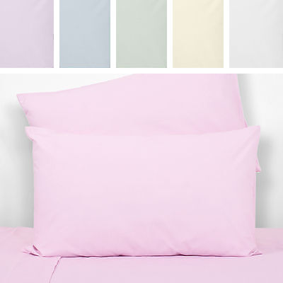 K Living Pair of Housewife Percale 180 Thread Count Pillow Cases Pillowcases