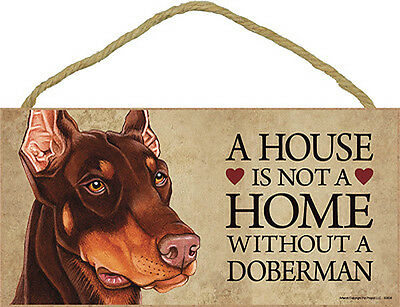Doberman Wood Dog Sign Wall Plaque 5 x 10