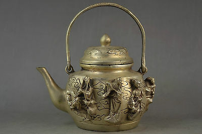 Old Collectible Decoration Miao Silver Carving Myth 8 Immortal Portable Tea Pot