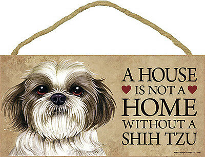 Shih Tzu Wood Dog Sign Wall Plaque 5 x 10 Puppy Cut + Bonus Coaster