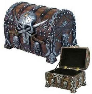 Pirate Skull Box Chest Wicca Altar Pagan Witch Craft Bones Ritual WitchCraft