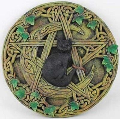 """Cat and Pentagram Wall Plaque 7 1/2"""" Picture Wicca Pagan Celtic Knot Altar Black"""