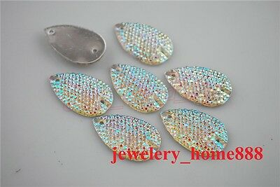 Shiny 10Pcs Faceted Flatback Resin Teardrop Rhinestone Sewing Buttons 28x17mm