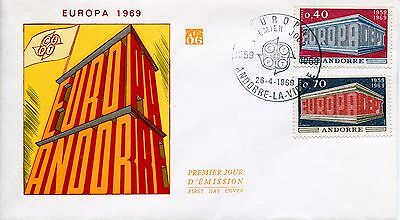 Fdc Premier Jour Andorre 1969 Timbre N° 194 - 195 Europa