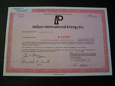 PALLISER INTERNATIONAL DATED 1984   100 SHARES   NOT CANCELLED