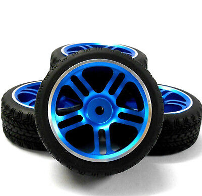 122106BL 1/10 Scale RC Car On Road Wheel and road Tread Tyre Blue Alloy Star 4