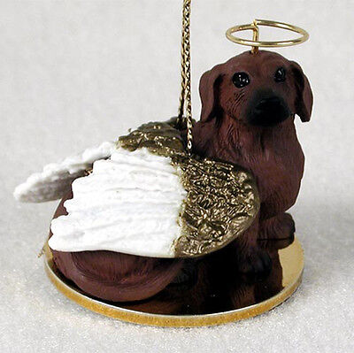Dachshund Ornament Angel Figurine Hand Painted Red