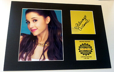 Ariana Grande signed  mounted quality pre print 12 x  8 in gold limited edition