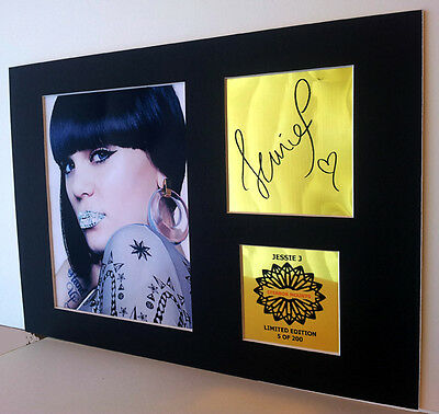 Jessie J  mounted quality signed pre print 12 x  8 in gold limited edition