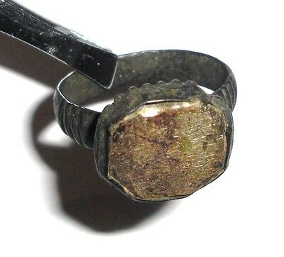 Medieval bronze ring with stone