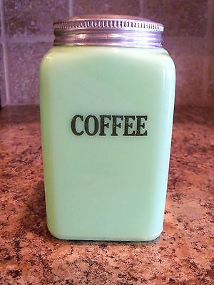 VINTAGE McKee Jadite/Jadeite Glass 28oz COFFEE Canister  w/Tin Screw on Lid