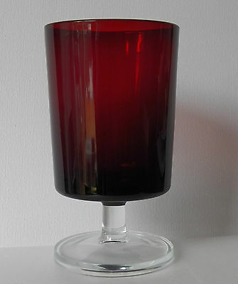 THREE RUBY RED GLASSES MADE IN FRANCE WITH CLEAR GLASS FOOT EACH HOLDS 8 OUNCES