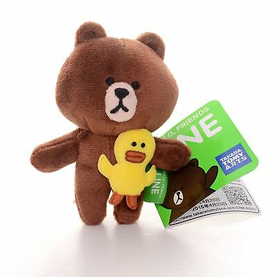 "Cute Hot Japan Anime LINE APP BROWN BEAR With Chick Plush Doll Toy 4"" Brand New"
