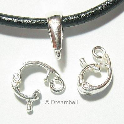 5X Bright .925 Sterling Silver Changeable Pendant Connector Clasp Bail SB111W