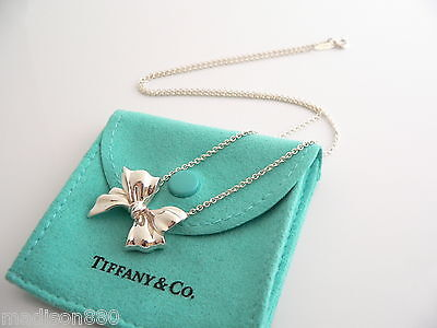 b9deb3b5b Tiffany & Co Silver Large Huge Ribbon Bow Necklace Pendant 19 inch Chain  Rare