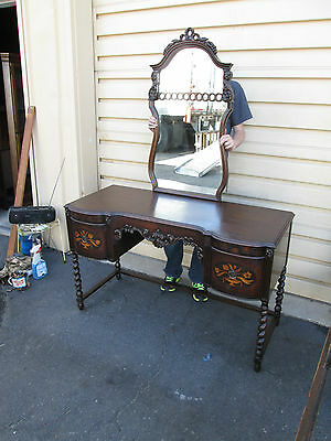 53726 ANTIQUE INLAID CARVED JACOBEAN VANITY WITH MIRROR