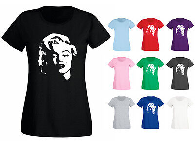 Womens Marilyn Monroe Face Hollywood Movie Icon T-shirt NEW UK 6-18