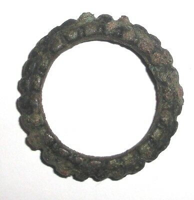 Ancient Celtic bronze knobbed Ring, Proto Money, 600-400 BC.