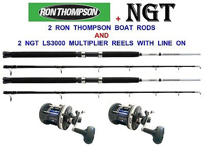 NGT LS3000 MULTIPLIER SEA BOAT FISHING REEL WITH 25LB LINE 2 BOAT FISHING RIGS