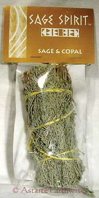 SMUDGE STICK: 130 mm SAGE & COPAL Wicca Witch Reiki Pagan CLEANSING BLESSINGS