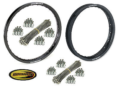 Front and Rear Black Wheel Rim and Spoke Set for Honda Crf 450 2002-2012 Crf450