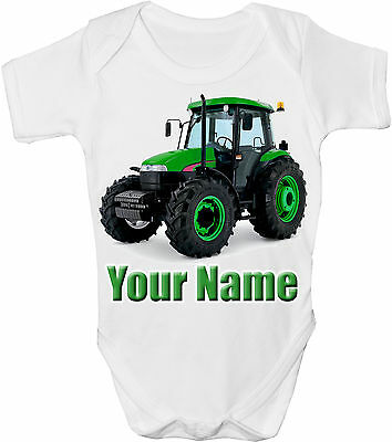 Green Tractor Personalised Baby Vest / Gro /bodysuit  **great Gift & Named Too**